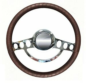 Chrome Brown Alligator 14 Steering Wheel For Ididit Flaming River Columns