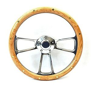 Hot Rod Steering Wheel Real Oak Chrome Rat Rod Classic Car Street Rod