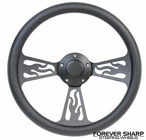 14 Black Aluminum Flame Steering Wheel To 3 Bolt Grant Adapter Hot Rod Column