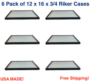 6 Pack Of Riker Display Cases 12 X 16 X 3 4 For Collectibles Jewelry