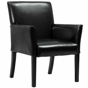 Executive Pu Leather Guest Chair Reception Side Arm Chair Upholstered Wood Leg