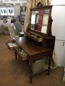 Vintage Dressing Table Antique Credenza Vanity With Mirror