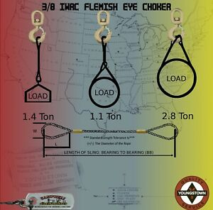 Choker Sling Wire Rope Steel Cable Flemish Eye 3 8 X 19 Iwrc Rigging Winch