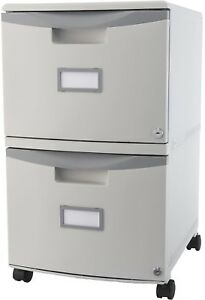 Storex 2 drawer Mobile File Cabinet With Lock Legal Letter