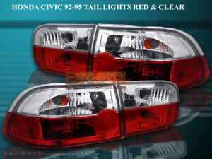 92 95 Honda Civic Tail Lights 2 4d R C Crystal 93 94