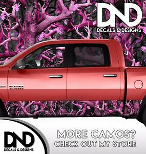 Camo Obliteration Pink Rocker Panel Wrap Graphic Decal Kit Truck Pink Camouflage