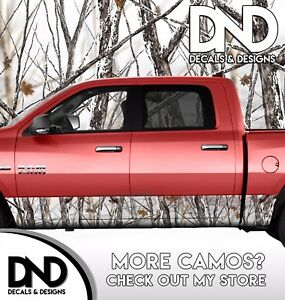 Camo Snowstorm Rocker Panel Wrap Graphic Decal Kit Truck Snowy Camouflage