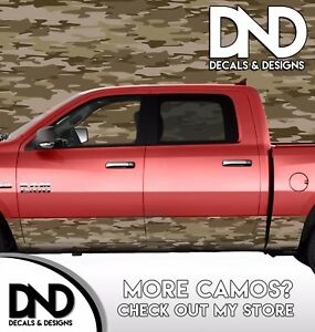 Camo Traditional Desert Rocker Panel Wrap Graphic Decal Kit Truck Camouflage