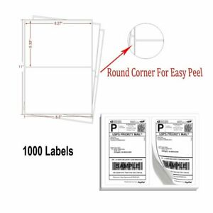 1000 8 5 X 5 5 Round Corner Self Adhesive Shipping Labels For Laser Usps Ebay