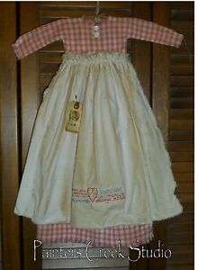 Primitive Wall Decor Dress Pink Check W Apron Loved You Yesterday Always Will