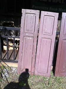 Vtg Pair 1800 S Old Wooden Window Shutters Architectural Salvage Screen 55 In
