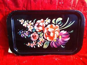 Vintage Mid Century Black Tole Painted Roses T V Serving Tray Top