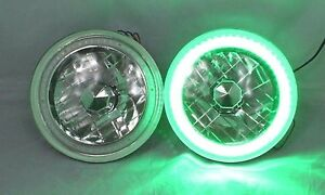 New Worl Motoring 97 16 Jeep Wrangler Tj Jk 7 Green Led Smd Halo Round Chrom