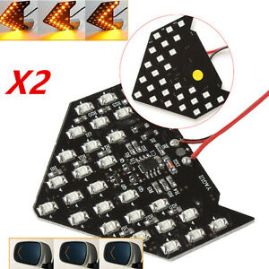 2 Super Yellow 33 Smd Sequential Led Arrow For Car Side Mirror Turn Signal Light