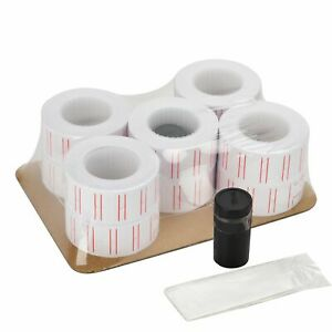 10 Rolls Price Labels Gun Paper Tag Sticker For Mx 5500 Labeller White Red Line