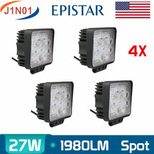 4x 27w Led Work Square Spot Light 12v 24v Off Road Truck 4x4 Boat Suv Lamp Motor