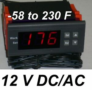 Temperature Controller Thermostat Fahrenheit 12v Dc Builtin Relay Freezer Heater