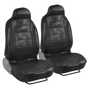 Deluxe Synthetic Leather Seat Covers Pair Black 2pc High Back Bucket
