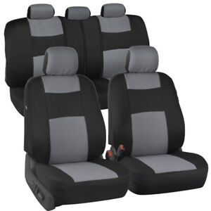 Gray Black Seat Cover Set For Car Auto Suv Polyester Cloth 60 40 Split Bench
