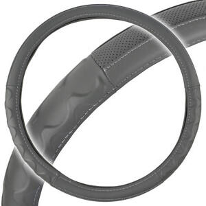 Big Rig Steering Wheel Cover For Tractor Trailer 18 Gray Premium Syn Leather