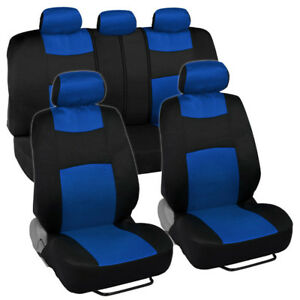 9pc Car Seat Covers Blue Split Option Bench Cool Mesh Accents