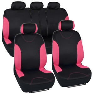 9 Pc Car Seat Cover Set Pink Black Split Bench W Headrest Covers Sedan Truck Suv