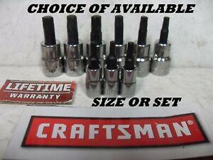 New Craftsman Torx Socket Bit Star 1 4 3 8 Or 1 2 Drive Choose Single Set