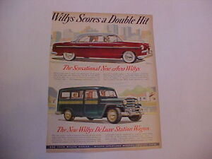 1952 Willys Aero And Deluxe Station Wagon Large Vintage Color Ad