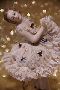 Fabulous Antique German Ackermann Fritze Porcelain Dresden Lace Ballerina