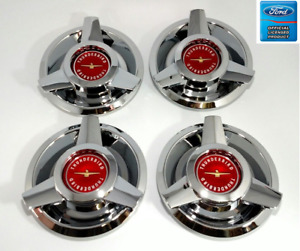 set 4 Red Logo Wire Wheel Spinner Hubcaps For 1962 63 Ford Thunderbird