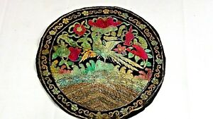Antique Chinese Round Silk Embroidery Pheasand Symbol On Top Rank Badge