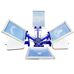 Screen Printing 4 Color 2 Station Press Machine Rotary Printer Free Combination