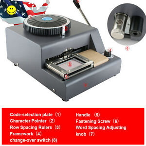 Usa 72 Character Letter Manual Embosser Pvc Stamping Vip Card Embossing Machine