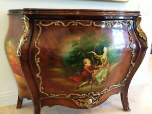 Hand Painted Antique Furniture Commodes Dresser With Bronze