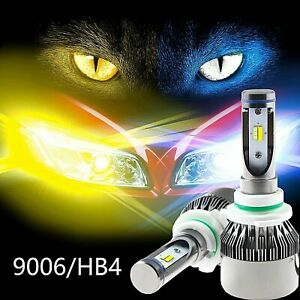 Pair Ice Blue Yellow Dual Color 9006 Hb4 60w 8000lm Zes Led Headlight Kit Bulbs