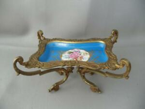 Antique French Sevres Hand Painted Porcelain Compote Dish Tray W Bronze Mount