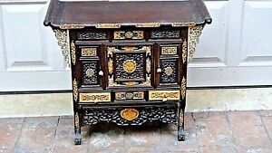 Antique Fine 18c Chinese Rosewood Intricate Carved Altar Archaic Dragons Cabinet