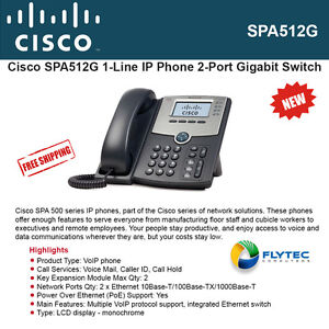 Cisco Spa512g Ip Phone For Business Or Soho 2 port Gigabit Poe Lcd Display