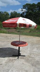 VINTAGE 1996 OLYMPIC COCA COLA BOTTLE TOP PATIO TABLE AND UMBRELLA
