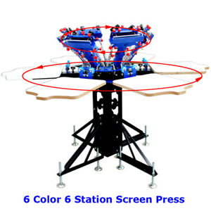 6 Color Adjustable New Screen Printing Press Pallet Screen Both Rotary Printer