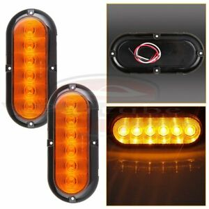 2 Amber Surface Mount 6 Led 6 Oval Stop Turn Signal Tail Marker Lights Sealed
