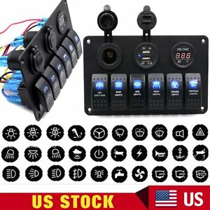 6 Gang Waterproof Car Marine Boat Circuit Blue Led Rocker Switch Panel Breaker B