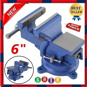 6 Bench Vise With Anvil Swivel Locking Base Table Top Clamp Heavy Duty Steel Bp