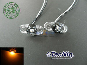 2 Tecniq Clear Amber Led Light Clearance Marker Trailer Truck Surface 2 Wire