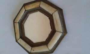 Old Antique Small Mirror Copper And Stone