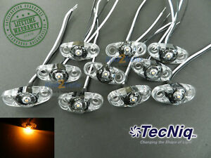 10 Tecniq Clear Amber Led Light Clearance Marker Trailer Truck Surface 2 Wire