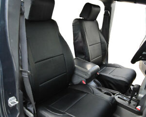 Jeep Wrangler Jk 2007 2010 4 Doors Black S leather Custom Made Front Seat Cover