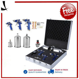 New Set 3 Hvlp Air Spray Gun Kit Auto Paint Car Primer Detail Basecoat Clearcoat
