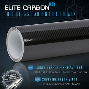 8d Elite True Gloss Black Carbon Fiber Vinyl Wrap Roll Bubble Free Air Release