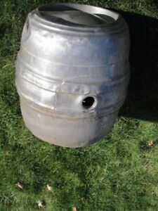 2 Vintage Firestone Barrel Keg Beer Stainless Steel Container Cans Empty